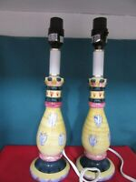"""Pair of Table Sofa Lamps (2),14"""" Tall, 5-1/2"""" Cords, Similar to MacKenzie Childs"""