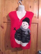 Susan Bristol Snowman Red Vest jumper Large Unisex