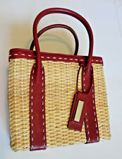ANTONIO MELANI Woven Straw Basket Rectangular Purse Red Trim EXCELLENT!