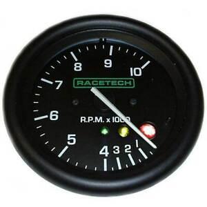 Racetech 80mm Tacho/Rev Counter 0-10000 RPM With Shift Light