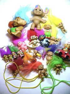 "Lot VINTAGE RUSS, Russ Berrie, SOMA Troll Dolls 3"" -1"" Earrings Necklaces Rings"