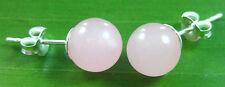 100% REAL 925 sterling silver rose QUARTZ 7- 8mm ball studs earrings girl teen