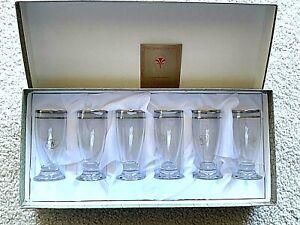 I PREZIOSI BY CRISTALLERIA F.LLI FUMO SET OF 6 GOLD RIMMED BARWARE WINE GLASSES