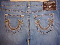 Mens True Religion Jeans Bobby Wheat Brown Super T Chainstitch Conductor Sz 40