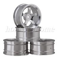 4PCS Silver Wheel Rim 5-Spoke Aluminium Alloy DIA 52mm for RC1:10 On-road Car