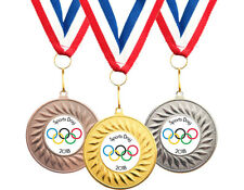 10 x Olympic School Sports Day Medals Personalised + Ribbons FREE DELIVERY