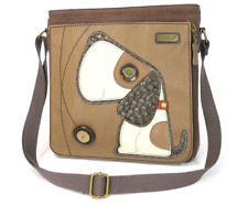 NWT CHALA BROWN TOFFY DOG DELUXE MESSENGER BAG PURSE HANDBAG FAUX LEATHER