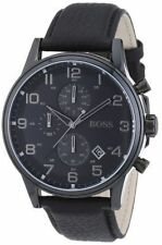 Hugo Boss Men's 44mm Chronograph Black Calfskin Mineral Glass Date Watch 1512567