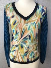 Missoni For Target Long Sleeve V-Neck Sweater SZ S Small Turquoise Blue Printed