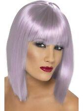 Womens Lilac Glam Wig Short Blunt Fringe Fancy Dress Beauty Model Styled Bob Fun