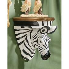African Striped Zebra Wall Shelf Sculpture Exotic Wildlife Shelf