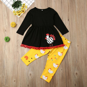 Toddler Kid Baby Girl Cotton Tops Dress Thanksgiving Pants Outfit Clothes 2-7Y