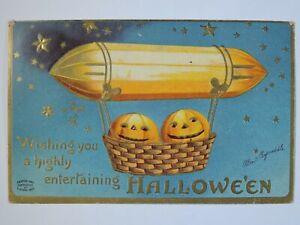 Antique 1910 Halloween Pumpkins in a Blimp Air Balloon Jack-O-Lantern Postcard