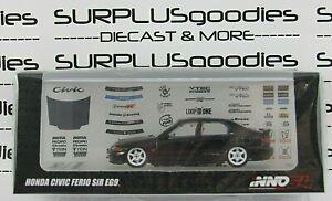 INNO64 1:64 Black 1992 HONDA CIVIC FERIO SiR EG9 w/Extra Wheels and Decal Sheet