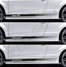 Audi sport quattro anneaux supérieur cast side stripes decals stickers s-line avant