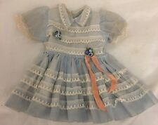 """VTG IDEAL 14"""" SHIRLEY TEMPLE DOLL DRESS BLUE ORGANDY WHITE LACE TAGGED"""