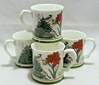 Grace Teaware Amaryllis & Birds Fine Porcelain Christmas Coffee Mugs Set of 4