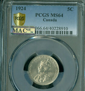 1924 CANADA 5 CENTS PCGS MS64 PQ MAC SPOTLESS  *