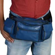 Leather Fanny Pack Belt Waist Pouch Hip Travel Purse Large Mens Womens Blue New