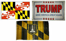 3x5 Trump White #2 & State Maryland & City Baltimore Wholesale Set Flag 3'x5'