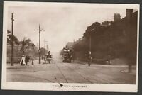 Postcard Longsight Manchester Lancashire tram 182 and carriage in High Street RP