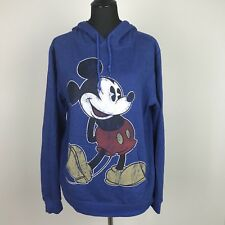 Disney Mickey Mouse Adult Size Medium M Long Sleeve Pullover Hoodie Pockets Blue