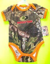 Boy's Mossy Oak All Over Camo Logo Orange Trim One Piece Size 3M-6M Gift