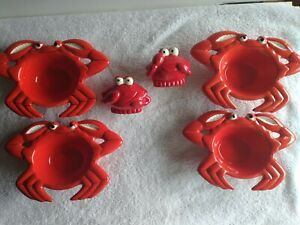 4 pc. & Salt & Pepper Shakers Ceramic Red Crab Butter Sauce  Dipping Bowl / Dish