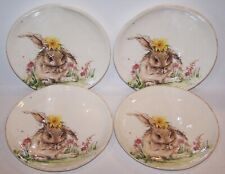 SET OF 4 SOUTHERN LIVING STONEWARE EASTER BUNNY COLLECTION DAISY ACCENT PLATES