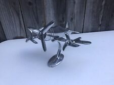 Vintage Chrome Metal Airplane Desk Model Art Deco Promotional Propeller Plane
