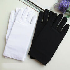 8a7edeb7f73be 1Pair Black White Short Gloves Etiquette Stretch Spandex Sun Protection  Gloves