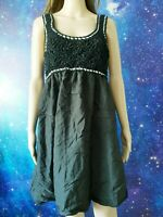 🔴PUSSYCAT LONDON black knitted cotton blend baggy shift tunic dress size L 1214