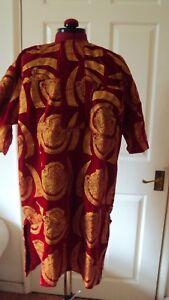 "Nigerian Igbo Traditional Groom Men's ""Isi Agu"" Loose Shirt / Top Red - Medium"