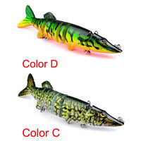 "5"" Multi-jointed 9-segement Pike Muskie Plastic Fishing Lure Hard Bait 、~GNyu"