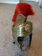 Bronze color Roman Officer Praetor Helmet with red plume