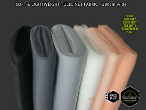 6 COLOURS - SOFT & LIGHT TULLE MESH FABRIC - WEDDINGS, BRIDAL & EVENTS - 280cm