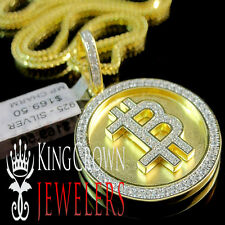 REAL YELLOW GOLD ON SILVER SIMU DIAMOND BITCOIN QR MINI PENDANT CHARM CHAIN SET