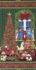 "24"" Christmas Fabric Panel - Holiday Tree Toy Train Green - Timeless Treasures"