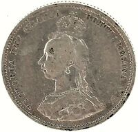 Great Britain 1887 Silver One Shilling Queen Victoria Jubilee Head Coin KM#761