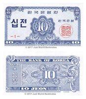 South Korea 10 Jeon 1962 Series # 1 P-28 Banknotes UNC