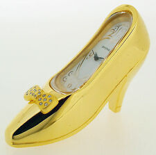 Novelty Miniature Stiletto Shoe Clock in Gold Tone on Solid Brass