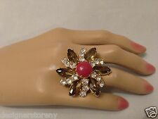 J.Crew Massive Bohemian Flower Crystal ring size 7
