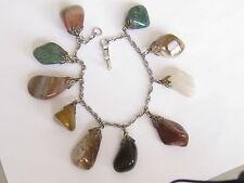 vintage charm bracelet-dangling stones brown & green