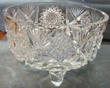 Mid Century Modern Crystal Clear Footed Star & Pineapple Pattern Cut Glass Bowl