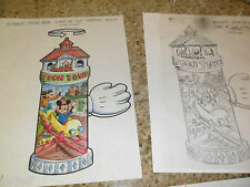 5 Lot Original Art Disney Toon Town Mickey Mouse Train Burger King Cup Topper