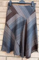 WAREHOUSE GREY CHECK STRIPED BROWN A LINE FORMAL WORK CASUAL SKATER SKIRT 8 S
