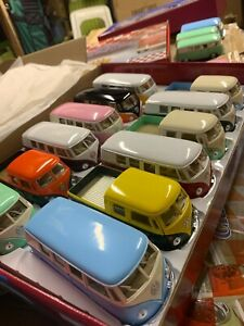 mix of 12x VW Volkswagen bus kinsmart car models diecast metal a lot 1:32 scale