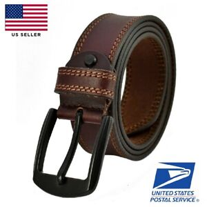 Mens Genuine FULL GRAIN 100% Casual Leather Dress Belts Jeans Buckle US Stock