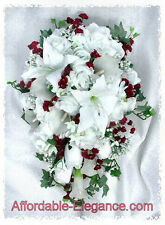 WHITE & BURGUNDY  Cascade Bridal Bouquet Roses Calla Lilies Silk Wedding Flowers