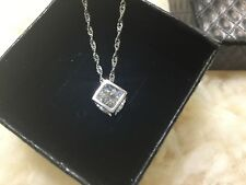 Italy Jewelry Magic 925 sterling Silver cube Crystal chain Necklace Pendant Gift